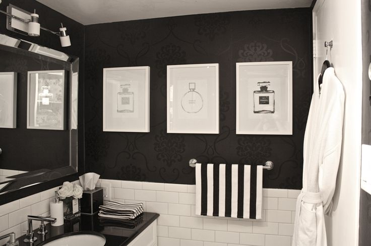 Three silver foil Chanel bottle prints from Canadian artist Randa Salloum of I See Noise fame look edgy and really tie the whole space together. The finished space surpassed our expectations of what a savvy senior bathroom could be.