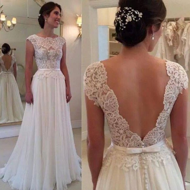 Buy Hot Selling Backless Lace Wedding Dresses with Sash Wedding Dresses under $239.99 only in Dressywomen.