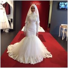 Modest Design manga comprida gola alta vestido de casamento árabe Dubai vestidos de noiva 2016 Mermaid Lace muçulmanos vestidos de noiva(China (Mainland))