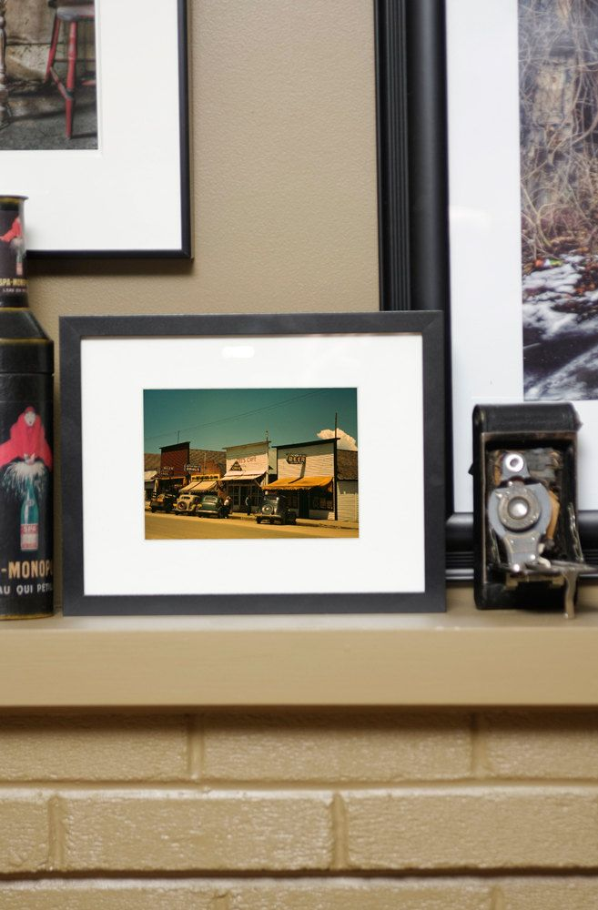 """Northwest Living: """"Main Street, Cascade, Idaho, 1941""""   Framed 5 x 7"""" print   Vintage color photograph   Ikea frame   For the office   WWII by LostRiverPapers on Etsy"""