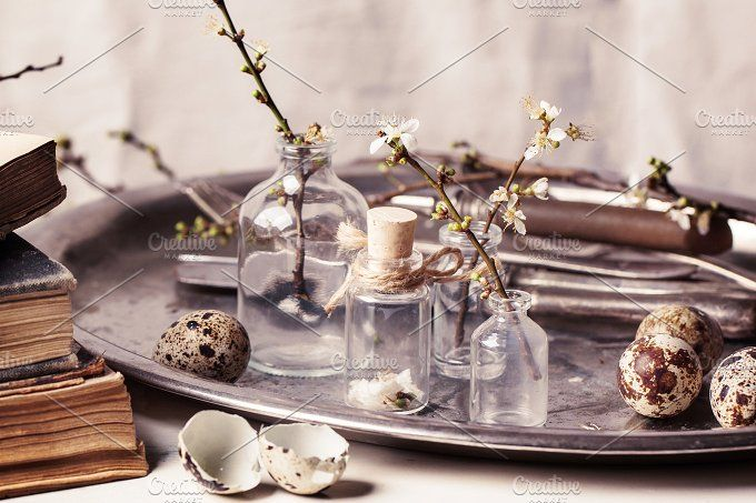 Easter interior with vials and quail by Natasha Breen on @creativemarket