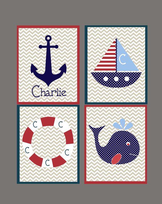 Hey, I found this really awesome Etsy listing at https://www.etsy.com/listing/125246606/nautical-nursery-boys-wall-artset-of-4