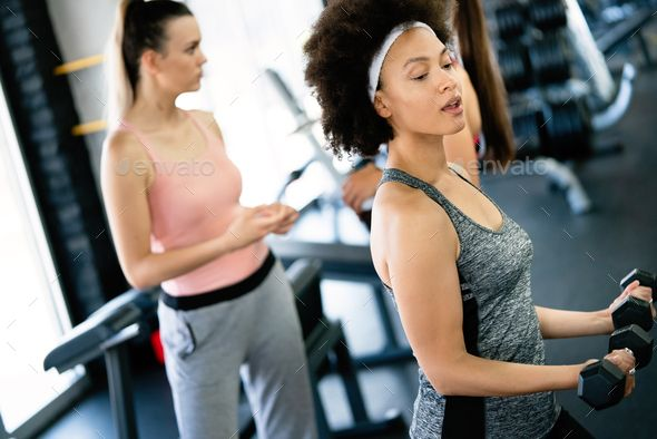 Fitness Sport Healthy And Lifestyle Concept Smiling African American Woman In Gym African American Women African American Women