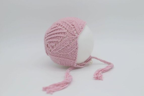 Tulip Bonnet  knit lace bonnet  bonnet photo props  by 288colors