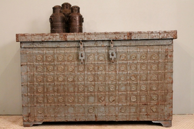 Blue Rustic Distressed Antique Indian Storage Trunk Sideboard Media Console