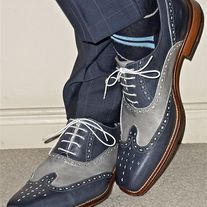 Handmade Men's Formal Shoe, Blue Gray Leather Wing Tip Lace Up Formal Shoes from leatherworld2014