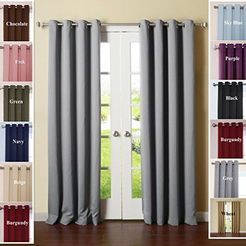 """Pair Of Plain Light GREY Eyelet Ring Top BLACKOUT / DIMOUT Curtains 90"""" drop: Amazon.co.uk: Kitchen & Home"""