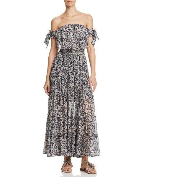 Misa Los Angeles Anais Off-the-Shoulder Maxi Dress (1,435 ILS) ❤ liked on Polyvore featuring dresses, white off shoulder dress, off the shoulder floral dress, off the shoulder maxi dress, off shoulder maxi dress and navy maxi dress