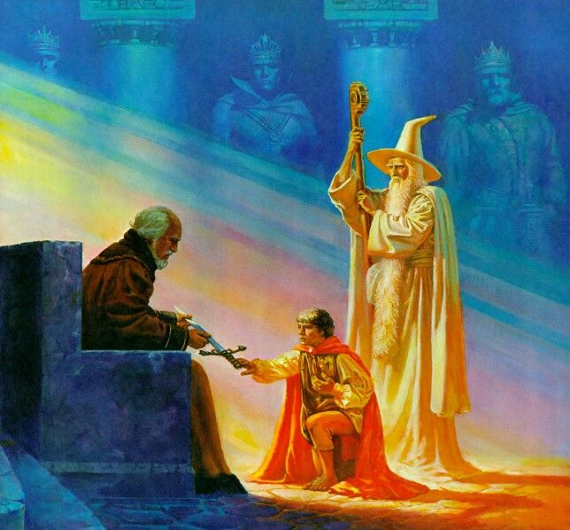 Denethor Meets a Halfling, by Douglas Beekman. Both Pippin and Gandalf are similar to how I imagined them. Funnily, so is Denethor, which just goes to show how fleeting the characters I picture are, if you compare to my other pins of him.