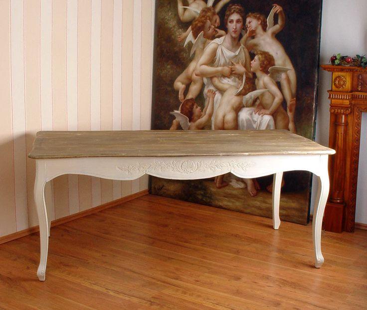 Tisch Weichholz Esstisch Shabby Chic WEISS Esszimmer Holztisch