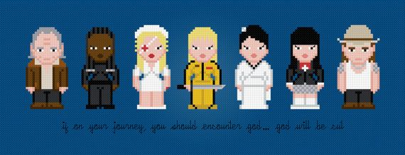 Kill Bill Movie Characters - Digital PDF Cross Stitch Pattern    This is a digital PDF file of a cross stitch pattern. You will need to have a