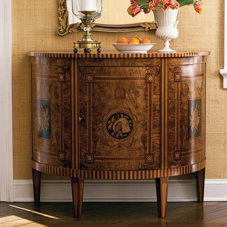 18th Century English Style Half Round Cabinet With Olive