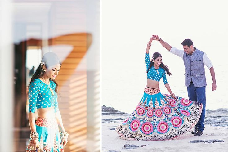 A toy blue lehenga with appliquéd golden hearts on the blouse and baroque embroidery on the skirt by Manish Arora for the Mehendi of Melanie of WeddingSutra. Photo Courtesy - Our Labor of Love.