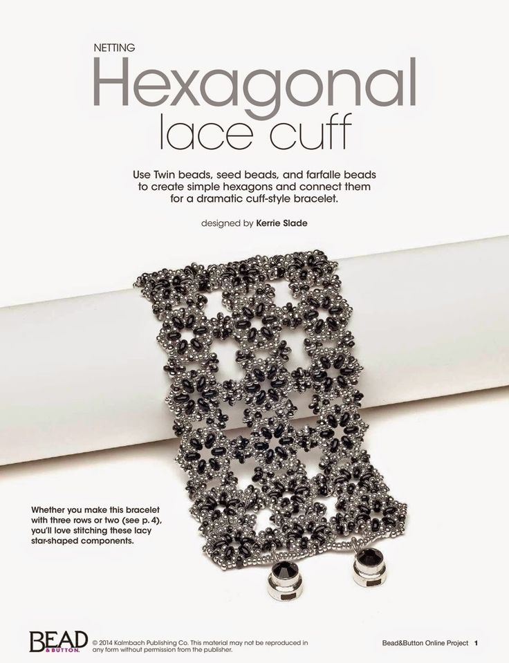 Kerrie Slade: Hexagonal Lace Cuff using Preciosa Twin beads, Farfalle and seed beads. You can download the pattern FREE from the Bead & Button website http://bnb.jewelrymakingmagazines.com/projects/free-projects/2014/11/hexagonal-lace-cuff