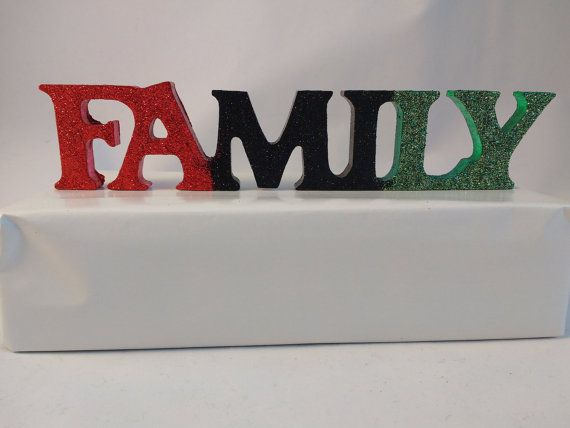 Black History Month, FAMILY wooden word, Afrocentric Home Decor, Red Black Green, Painted Wood, Wood Word Art, Black Lives Matter
