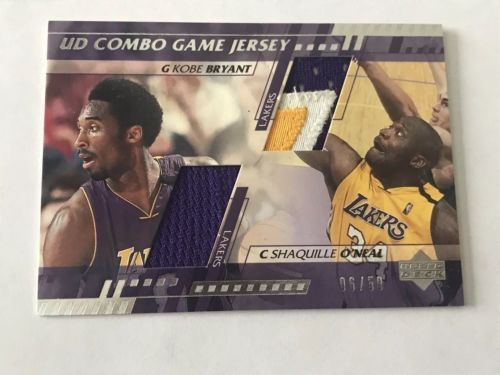 2001 Upper Deck SHAQ and KOBE BRYANT Game Used LA Lakers jersey swatch /50 Rare please retweet