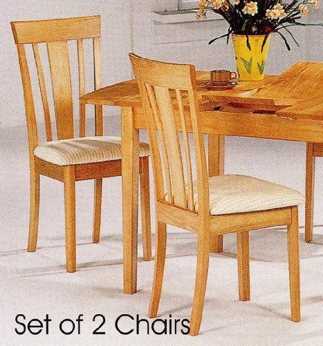 Set Of 2 Contemporary Natural Finish Dining Chairs W Cushion Seat And Kitchen Seating Wood Some Assembly May Be Required