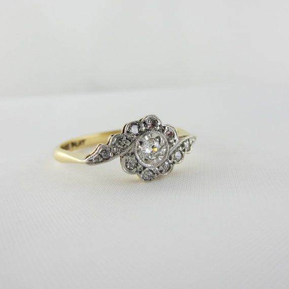 Edwardian Engagement Ring. Swirl Diamond Ring, Circa 1910s. on Etsy, $492.19