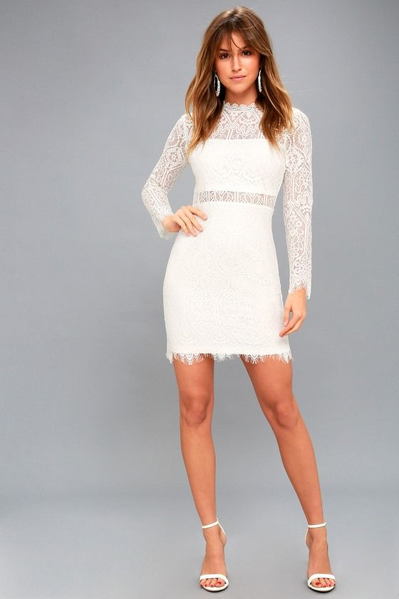 Appetite For Seduction White Lace Long Sleeve Dress Formal Dresses