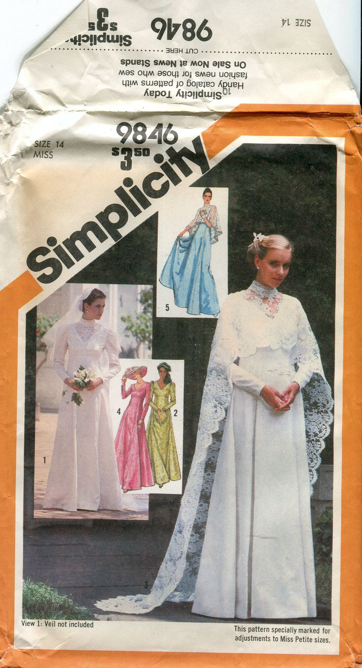Religious sewing patterns gallery craft decoration ideas 547 best bridal sewing patterns images on pinterest sewing 1980s simplicity 9846 empire waist wedding dress jeuxipadfo Images