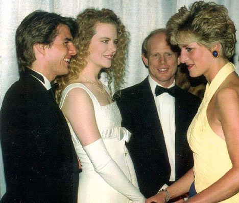 """Princess Diana, Tom Cruise, Nicole Kidman, and Ron Howard at a showing of """"Far and Away""""."""