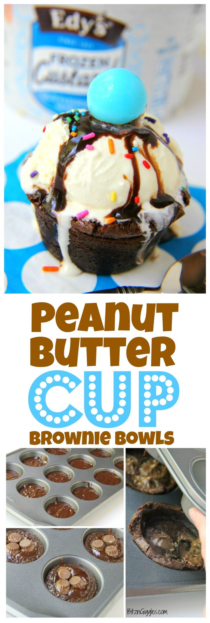Peanut Butter Cup Brownie Bowls - A peanut butter cup infused brownie bowl perfect to build your ice cream sundae in! #FlavorYourSummer #ad