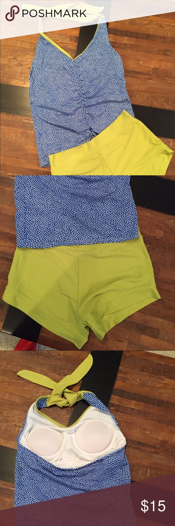 Lime Ricki tankini Lime Ricki tankini - blue & white polka dot top and lime green swim shorts - size 6. Only worn a few times and the tags have been cut out. Swim Bikinis