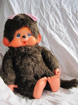 "Vintage RARE 18"" Monchhichi Plush Doll Sekiguchi Japan 1970's Toy by Mattel"