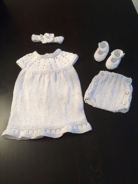 Knitted Christening Outfit Knitted Baby Girl Set Knitted