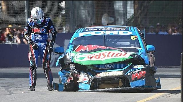Chaz Mostert 2014, a glum Chaz mopes out of the bashed up V8 supercar