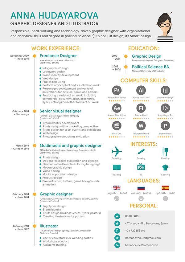 44 best RESUME images on Pinterest Resume design, Design resume - freelance graphic design resume