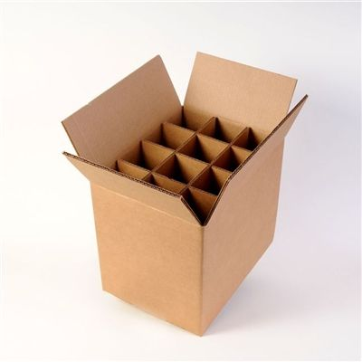 Corrugated box to store or carry 12 standard (750ml) wine bottles damage free.  Each box comes with inserts to keep individual bottle separate and in place.  SOLD in a lot of 30 Boxes.