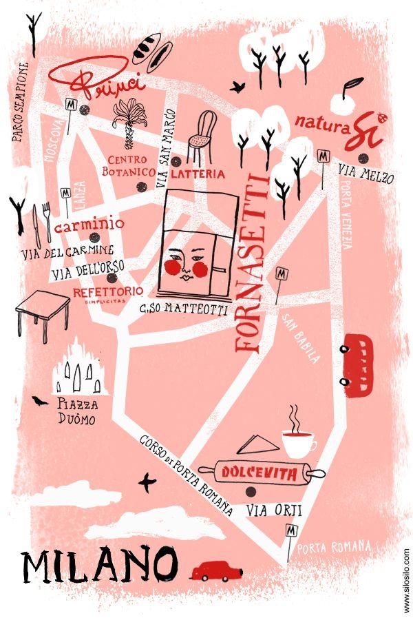 Barnaba Fornasetti milano map - by Silvia Gherra - silosilo.com  for L'ArcoBaleno