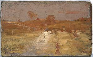 STREETON , Arthur |Pastoral in yellow and grey: a colour impression of Templestowe