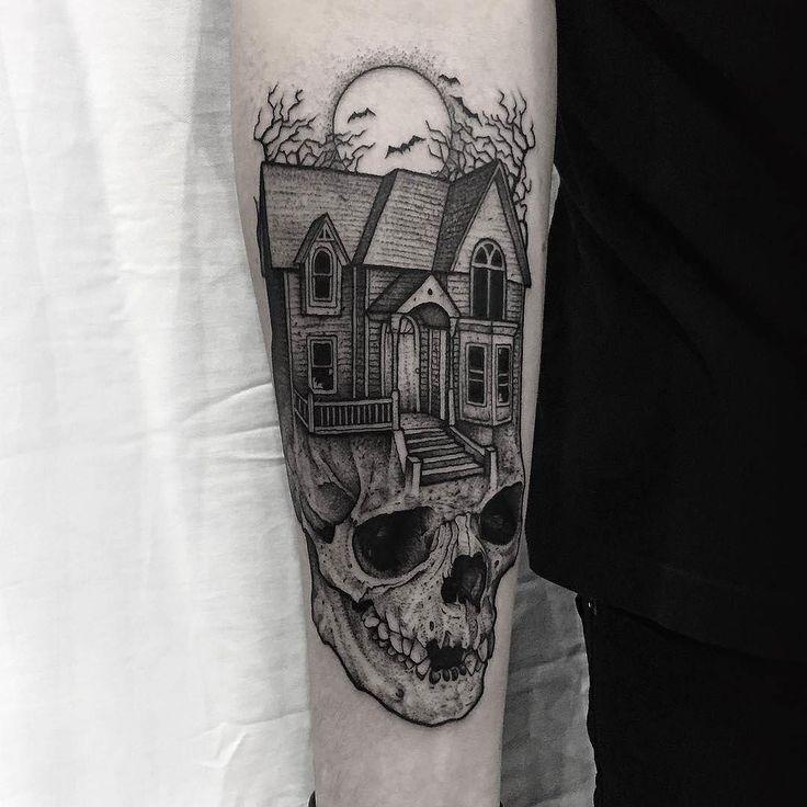 Haunted House On A Skull by @thomasbatestattoo in Norwich Norfolk. #haunted #hauntedhouse #skull #blackwork #thomasbatestattoo #norwich #norfolk #england #tattoo #tattoos #tattoosnob