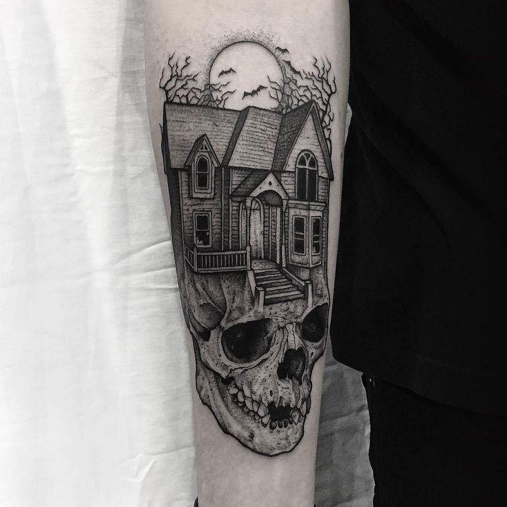 Haunted House On A Skull by @thomasbatestattoo in Norwich Norfolk. #haunted #hauntedhouse #skull #blackwork #thomasbatestattoo #norwich #norfolk #england #tattoo #tattoos #tattoosnob