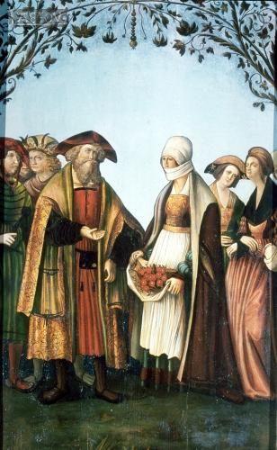 Die Legende vom Rosenwunder ist ein häufiges Motiv in der Bildenden Kunst. Sie erfasst jedoch nicht, wie sehr Elisabeth von Thüringen durch ihren Mann unterstützt wurde. Tafelbild eines Altars, Steiermark, um 1525