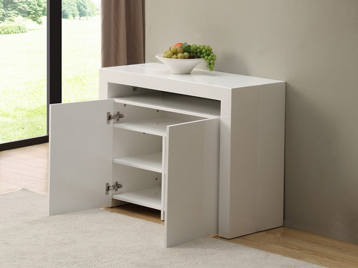 trendy elegant console buffet laqu blanc extensible rallonges stratege design by frederic. Black Bedroom Furniture Sets. Home Design Ideas