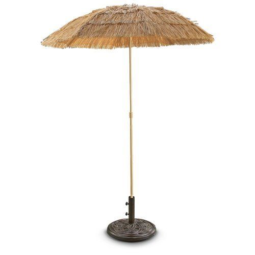 Guide Gear 6 foot Tiki Umbrella by Guide Gear. $19.99. A tropical vacation in your backyard! Guide Gear 6' Tiki Umbrella, SAVE BIG BUCKS! Cool vacation style to bring the feel of the beach to your favorite relaxation location! Thatched Tiki Umbrella puts you in the shade, with adjustable height and wide 6' diam. Pole mounts into your umbrella base or easily sticks into the sand on your next trip out. Get yours here for BIG BUCKS OFF... a little extra cash to invest i...