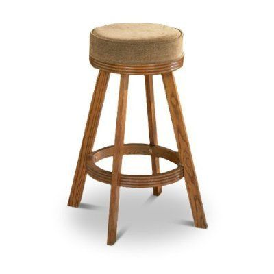 1 Oak Finish Solid Wood Swivel Seat Cushion Barstool Great for RVs and Boats