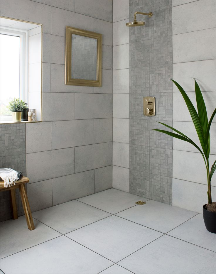 Pic On These concrete effect tiles cater for both walls and floors and are made from durable porcelain with a