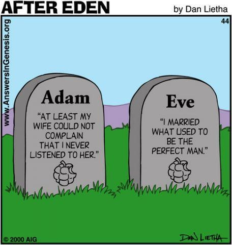 Biblical reference to Adam and Eve and what their graves would say if they inf act had one. I found it to be religious humor. http://en.wikipedia.org/wiki/Adam_and_Eve