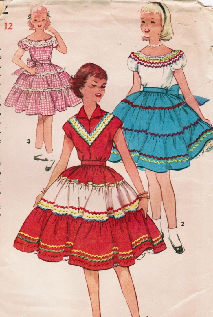 Vintage 1954 Simplicity 4952 Sewing Pattern Girls Peasant Blouse and Skirt Size 12. $10.00, via Etsy.