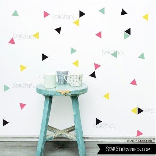 Triángulos Hipster rosa - Vinilos decorativos de pared
