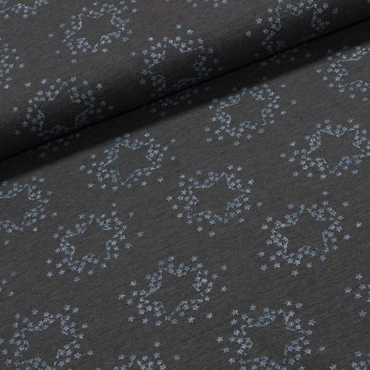 Směsový úplet LITTLE DARLING 128.514-3001 modré hvězdička na šedé, š.160cm (látka v metráži) | Internetový obchod Chci Látky.cz