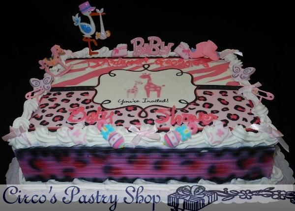 Pink Leopard Print Baby Shower Decorations | Brooklyn Baby Shower Cakes  Bushwick Fondant Baby Shower Cakes