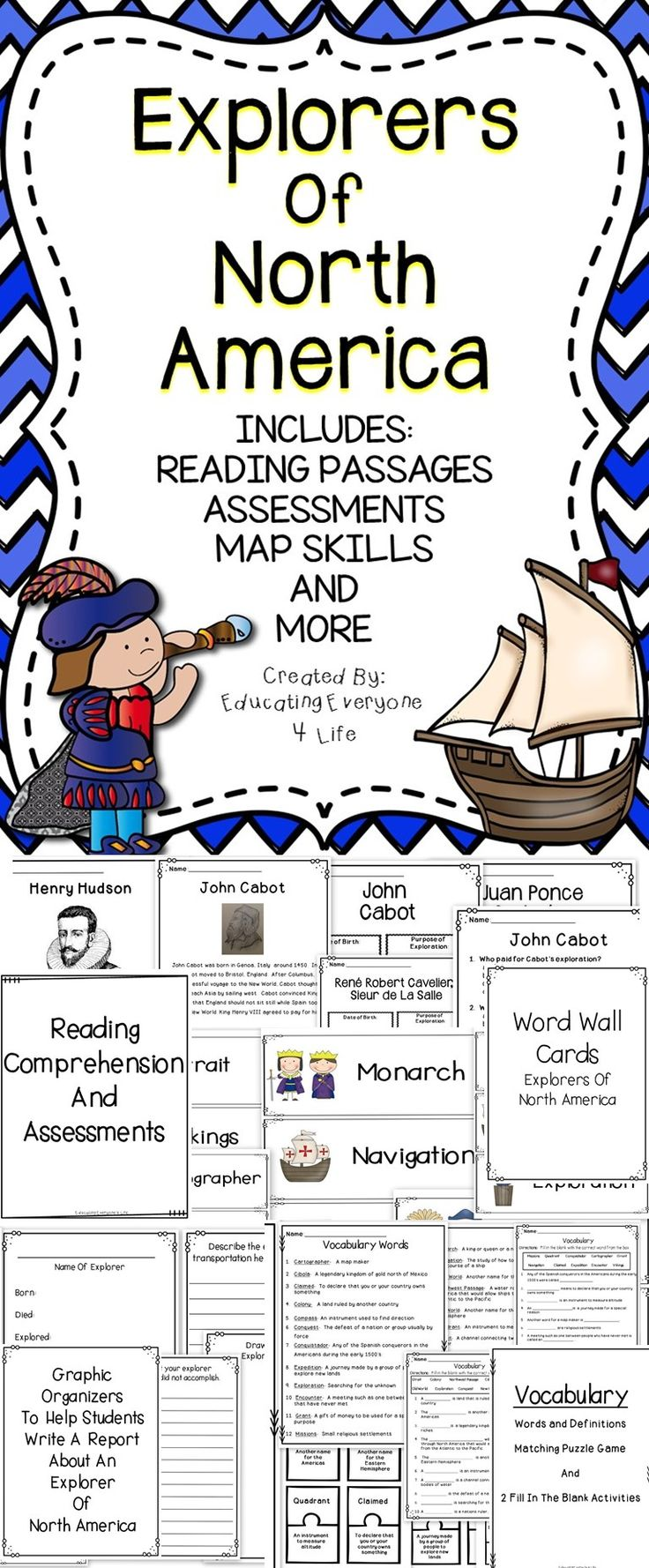 Free Worksheet Early Explorers Worksheets explorers of north america activities comprehension and graphic is a fun filled supplemental no prep resource to
