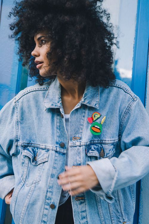 Denim jacket + fun and bright patches.