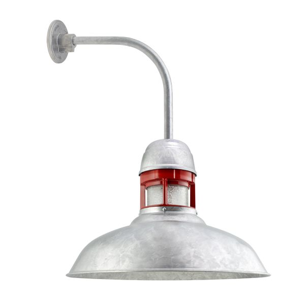 16 Outback Led 975 Galvanized With 400 Barn Red Guard Ccr Clear Crackle Glass G12 Gooseneck Arm Galvanized Light Gooseneck Lighting Barn Lighting