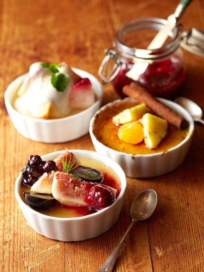 玄米がおしゃれプディングに変身! ブラインドで食べたら玄米だとはわからないほどのフィネスとなめらかさにびっくり。季節のフルーツで彩りを添えて。|『ELLE a table』はおしゃれで簡単なレシピが満載!